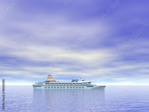 Cruise ship on the ocean - 3D render