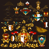 Collection of gold-framed heraldic elements
