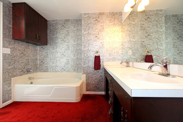 Old antique bathroom with red carpet and wallpaper.