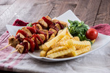 Grilled Skewer with French Fries