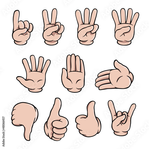 Set of human cartoon hands showing various gestures.