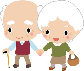 散歩するおじいさんとおばあさん