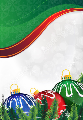 Christmas balls on a green background