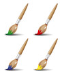 Set of paintbrushes in various colors