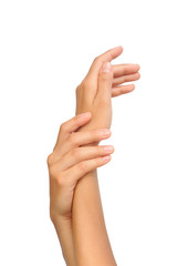 Beautiful hands of young woman, body care - cut out