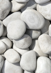 pile of white stones, pebbles, rocks for background or texture