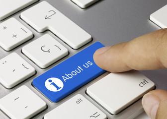 About us keyboard key. Finger