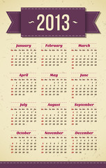 Vintage retro 2013 calendar
