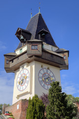 Clock Tower in Schlossberg. Graz, Austria