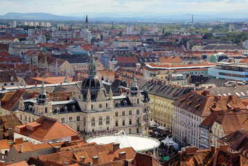 Panorama of the Graz with the city hall, Austria