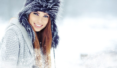 Beautiful brunette  hair girl i winter clothes