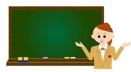 女子学生と黒板