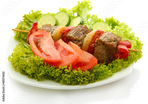 tasty grilled meat and vegetables