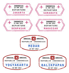 Indonesia passport stamps - vector illustration