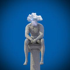 Männliche Statue sitzt auf Säule 3D Wolke Blitze