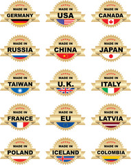 "Labels ""Made In"" with different countries"
