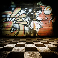 room with graffiti