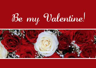Red and white roses Valentine's Card
