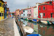 Sidewalk in colourful Burano, Italy.