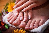 Woman's french manicure and pedicure  - 48078428