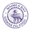 Stamp with name of Waimea Bay, Hawaii, vector