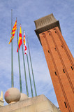 One of the two venetian towers at  Plaza Espanya. Barcelona. poster