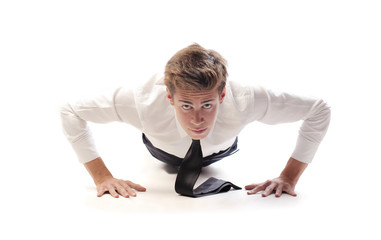 Young Businessman Push Up