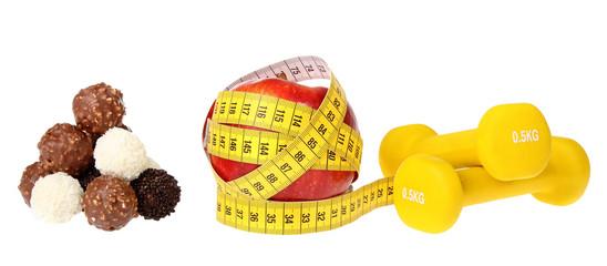 apple and measuring tape plus chocolates chocolate