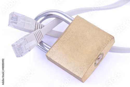 Network cable with padlock