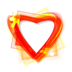 Bright shiny frame in the shape of heart. Eps10