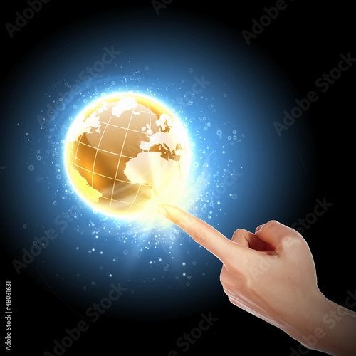 hand touching the earth