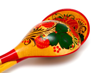 Khokhloma style Russian handicraft painting wooden spoon