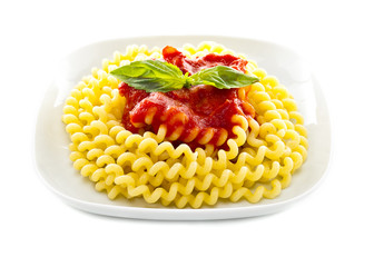 Italian pasta with basil and tomato salsa