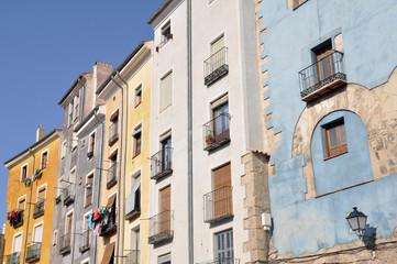 Old color houses facades in Cuenca, Spain