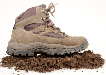 Hiking Boot On Dirt