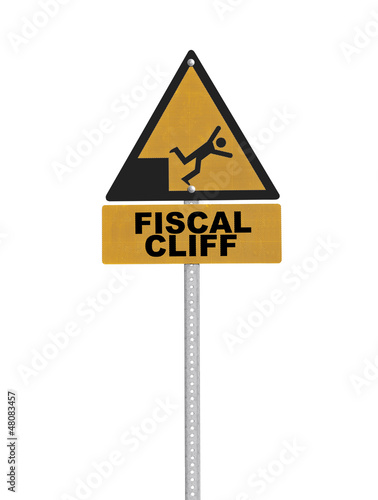 Fiscal Cliff Warning Sign Isolated
