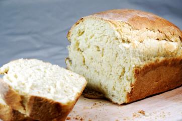 Sliced, freshly baked bread.