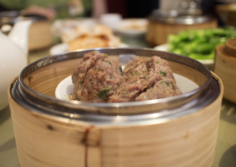 chinese dim sum - meatballs in steamer