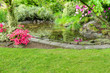 Landscaped garden scene with fish pond