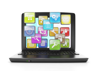 download applications from the Internet. A laptop and a group of