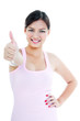 Fitness Woman Giving Thumb Up Gesture