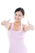 Healthy Woman Giving Two Thumbs Up Gesture