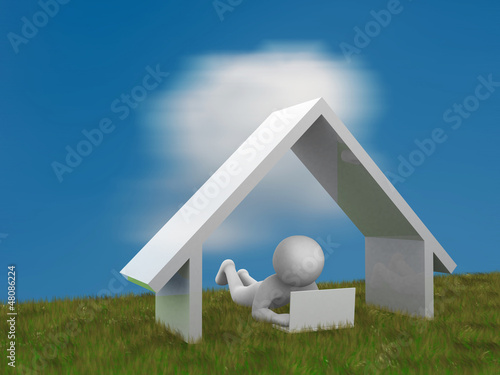 3d person lying on a green meadow and working on a laptop