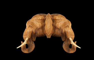 Sculpture (wood) picture elephant head. Isolated