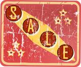 vintage sale sign, vector illustration