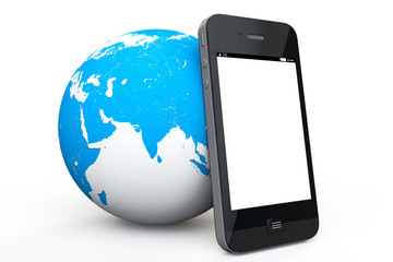 Earth Globe with mobile phone