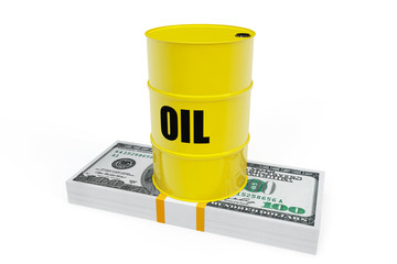 Oil Barrel with a stack of dollars