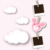 Baby girl photo frame with bear