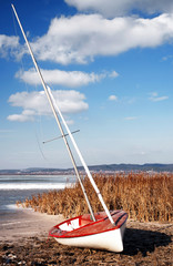Sailboat at Lake Balaton in winter time,Hungary