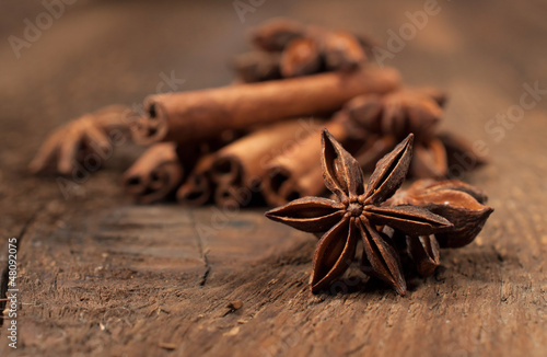 star anise and cinnamon sticks close-up